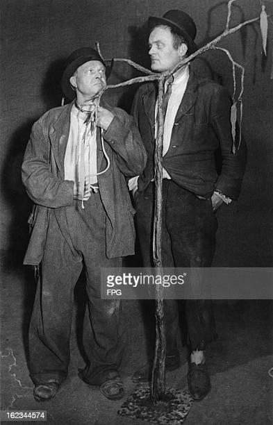 Alfred Schieske as Vladimir and Hans Hessling as Estragon in the German premiere of Samuel Beckett's play 'Waiting For Godot' at the Schlosspark...