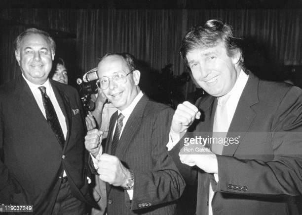 Alfred Taubman Senator Al D'Amato Donald Trump during Mike Tyson vs Carl Williams July 21 1989 at Trump Plaza in Atlantic City New Jersey United...