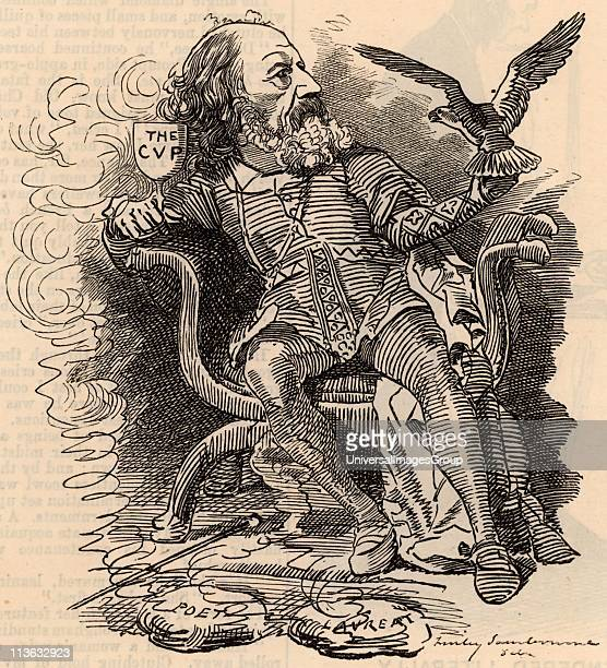 Alfred the Great: Alfred Tennyson, lst Baron Tennyson English poet. Succeeded William Wordsworth as Poet Laureate in 1850. Cartoon by Edward Linley...