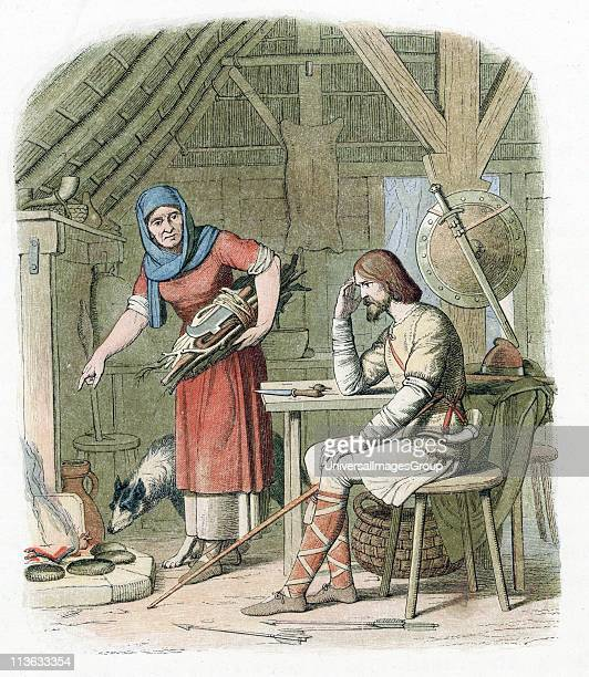 Alfred the Great AngloSaxon king of Wessex from 871 Alfred hiding from Danes in cowherd's cottage on Isle of Athelney Somerset scolded by housewife...