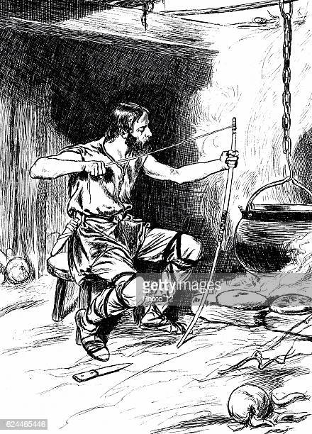 Alfred the Great AngloSaxon king of Wessex from 871 Illustration of story of Alfred letting cakes/bread burn while stringing his longbow when hiding...