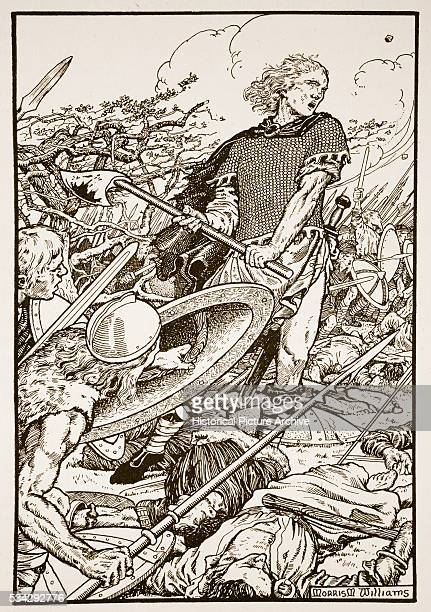 'Alfred the Great leading the West Saxon army of his brother King Ethelred to victory against the invading Danes 8th January 871 Illustration by...