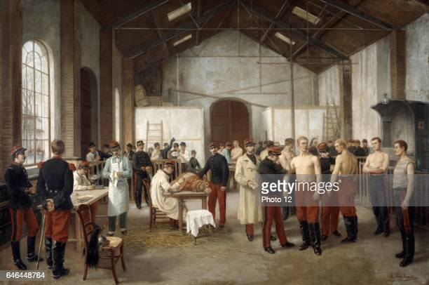 Alfred Touchemolin French army recruits being vaccinated with Cowpox to protect them from the more virulent infection Smallpox