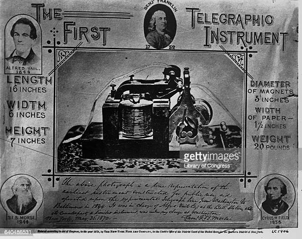 Alfred Vail receives and Samuel Morse's telegraph message What hath God wrought The message was transmitted from the US Supreme Court room to the...