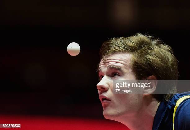 Alfredas Udra of Lithuania in action during the Table Tennis World Championship at Messe Duesseldorf on May 29, 2017 in Dusseldorf, Germany.