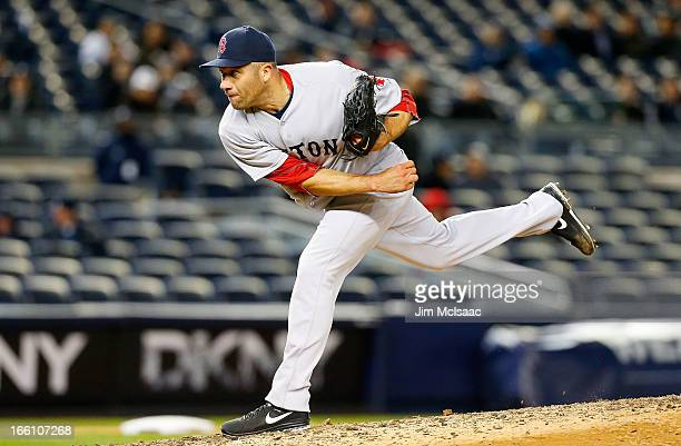 Alfredo Aceves of the Boston Red Sox in action against the New York Yankees at Yankee Stadium on April 3 2013 in the Bronx borough of New York City...