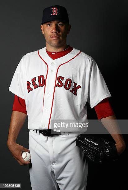 Alfredo Aceves of the Boston Red Sox poses for a portrait during the Boston Red Sox Photo Day on February 20 2011 at the Boston Red Sox Player...