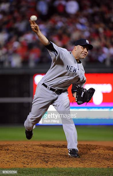 Alfredo Aceves of the New York Yankees pitches during Game Five of the 2009 MLB World Series at Citizens Bank Park on November 2 2009 in Philadelphia...