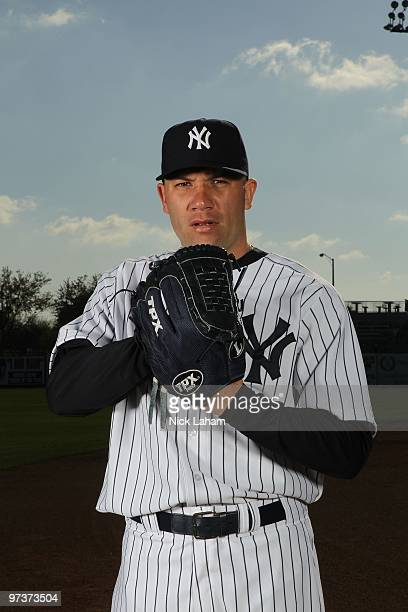 Alfredo Aceves of the New York Yankees poses for a photo during Spring Training Media Photo Day at George M Steinbrenner Field on February 25 2010 in...