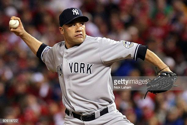 Alfredo Aceves of the New York Yankees throws a pitch against the Philadelphia Phillies in Game Five of the 2009 MLB World Series at Citizens Bank...