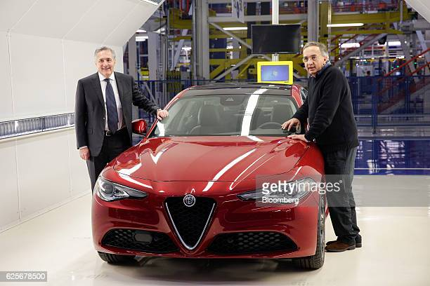Alfredo Altavilla chief operating officer for EMEA at Fiat Chrysler Automobiles NV left and Sergio Marchionne chief executive officer of Fiat...
