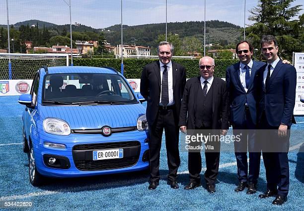 COO FCA Alfredo Altavilla President FIGC Carlo Tavecchio Cristiano Fiorio and General Director FIGC Michele Uva attend Unveil New Panda Azzurri Car...