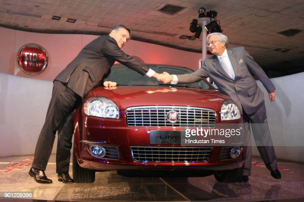 Alfredo Altavilla Vice President and CEO of Fiat and Ravi kant Managing Director of Tata Motors and Chairman of Fiat India during the launch of New...