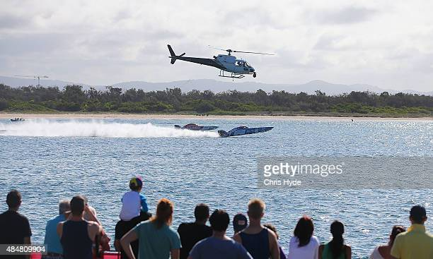 Alfredo Amato and Joakim Kumlin of Videx and Tom Barry Cotter and Ross Willaton of Gold Coast Australia compete in the Dubai Duty Free Speed Cat Run...