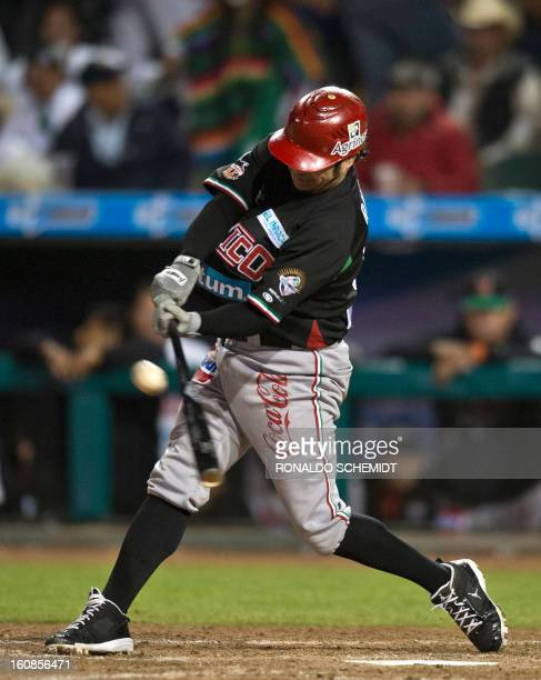 Alfredo Amezaga of Yaquis de Obregon of Mexico bats against Criollos de Caguas of Puerto Rico during the 2013 Caribbean baseball series on February 6...