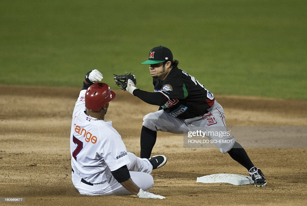 Alfredo Amezaga (R) of Yaquis de Obregon of Mexico, tags out in second base Abraham Almonte (L) of Leones del Escogido of Dominican Republic, during the 2013 Caribbean baseball series, on February 7, 2013, in Hermosillo, Sonora State, in the northern of Mexico. AFP PHOTO/Ronaldo Schemidt