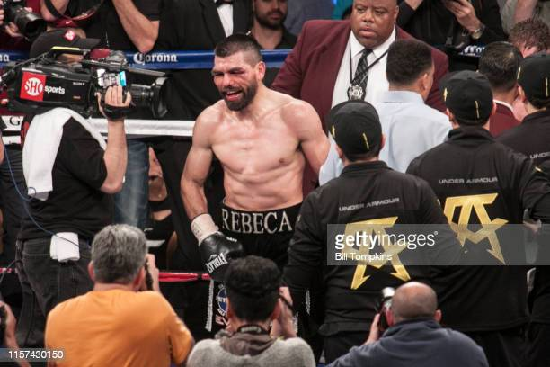 Alfredo Angulo at the end of the match in his loo to Saul Alvarez by 10th round TKO in their Junior Middleweight unification boxing match at the MGM...