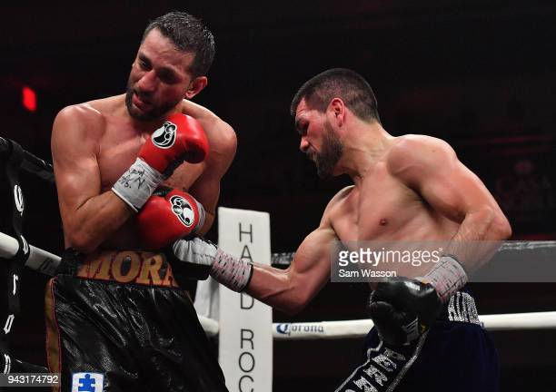 Alfredo Angulo throws a right at Sergio Mora during their super middleweight bout at The Joint inside the Hard Rock Hotel & Casino on April 7, 2018...
