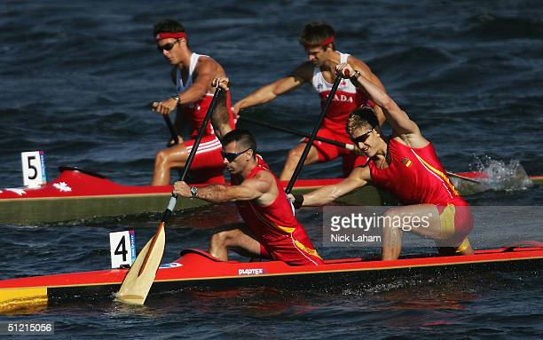 Alfredo Bea and David Mascato of Spain compete during the men's C2 class 1000 metre semifinal on August 25 2004 during the Athens 2004 Summer Olympic...