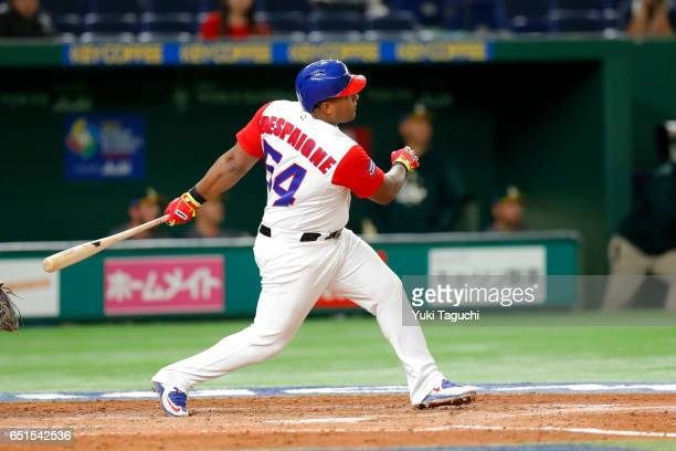 Alfredo Despaigne of Team Cuba hits a gland slam in the fifth inning during Game 5 of Pool B of the 2017 World Baseball Classic against Team...