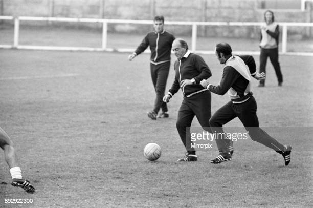 Alfredo Di Stefano shows his boys the Valencia FC how to do it as they train for their clash with Manchester City 12th September 1972