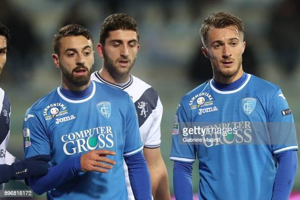 Alfredo Donnarumma and Francesco Caputo of Empoli FC reacts during the Serie B match between Empoli FC and Brescia Calcio at Stadio Carlo Castellani...