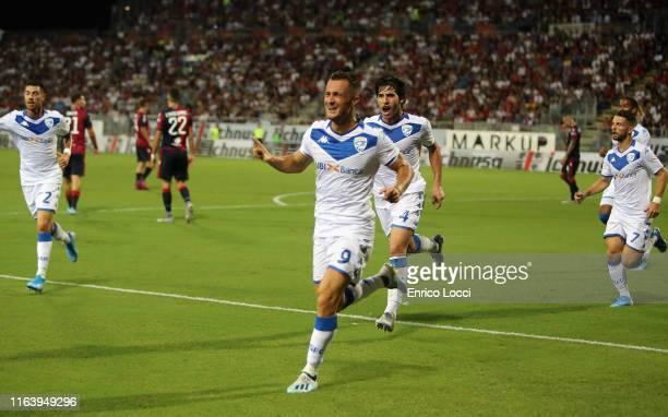 Alfredo Donnarumma of Brescia celebrates after scoring a goal which was later disallowed during the Serie A match between Cagliari Calcio and Brescia...