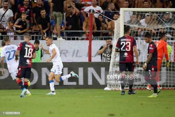 Alfredo Donnarumma of Brescia celebrates his goal 01 during the Serie A match between Cagliari Calcio and Brescia Calcio at Sardegna Arena on August...