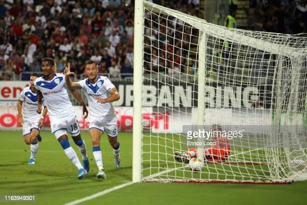 Alfredo Donnarumma of Brescia scores a goal which was later disallowed during the Serie A match between Cagliari Calcio and Brescia Calcio at...