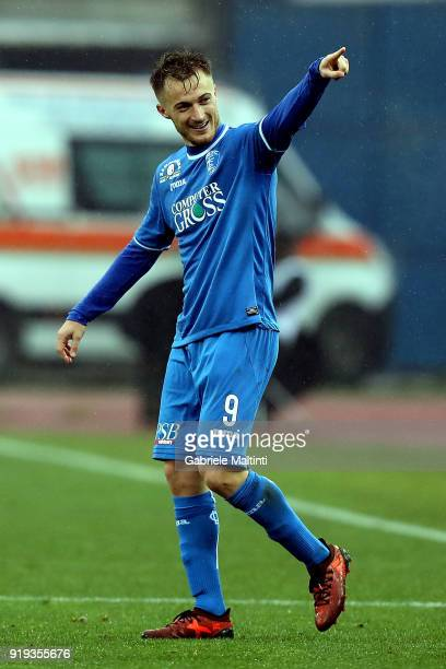 Alfredo Donnarumma of Empoli FC celebrates after scoring a goal during the serie B match between FC Empoli and Parma Calcio at Stadio Carlo...