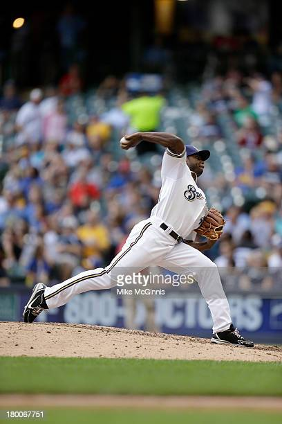 Alfredo Figaro of the Milwaukee Brewers pitches during the game against the Pittsburgh Pirates at Miller Park on September 02 2013 in Milwaukee...