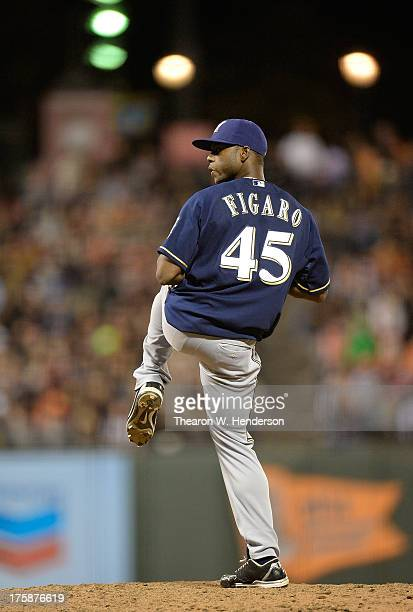 Alfredo Figaro of the Milwaukee Brewers pitches in the six inning against the San Francisco Giants at ATT Park on August 7 2013 in San Francisco...