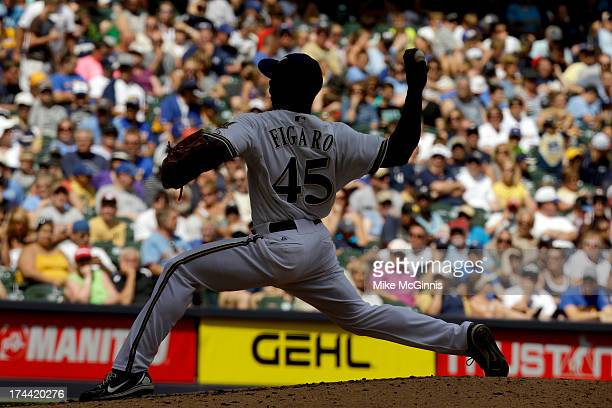 Alfredo Figaro of the Milwaukee Brewers pitches in the top of the fifth inning against the San Diego Padres at Miller Park on July 25 2013 in...