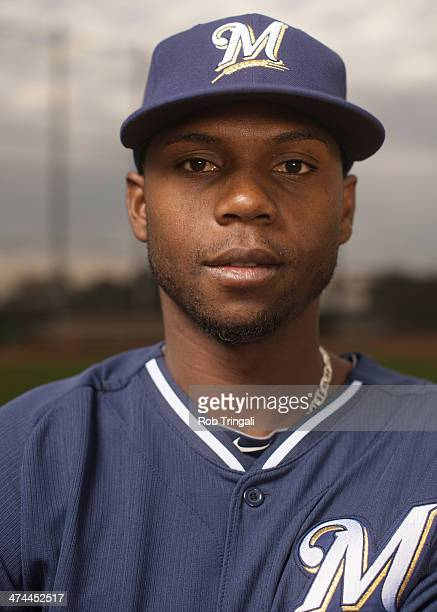 Alfredo Figaro of the Milwaukee Brewers poses for a portrait on photo day at the Milwaukee Brewers Spring Training Complex in Maryvale Arizona on...