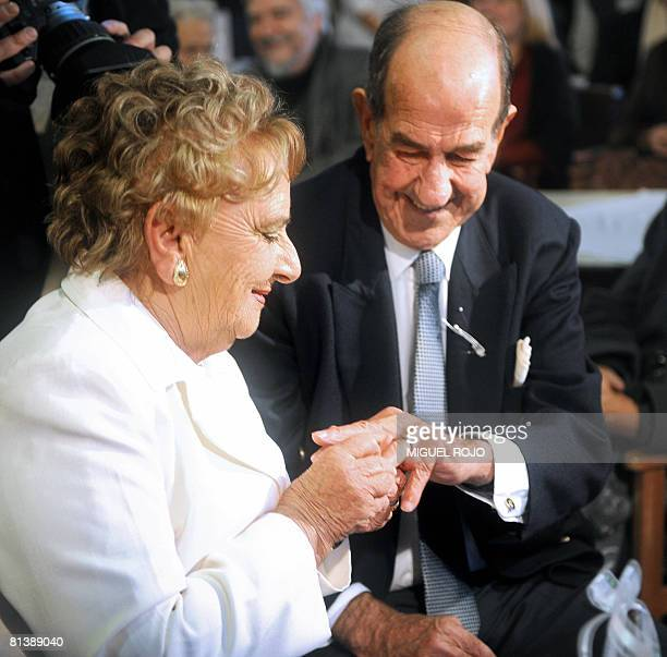 Alfredo Maciel and Nilsa Noble smile during their wedding's ring ceremony at the public geriatric hospital Pieyro del Campo in which they both live...