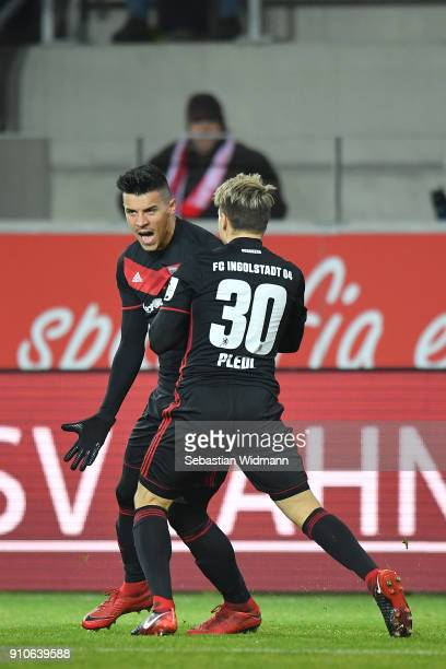 Alfredo Morales celebrates with teammate Thomas Pledl of Ingolstadt scoring his teams first goal during the Second Bundesliga match between SSV Jahn...
