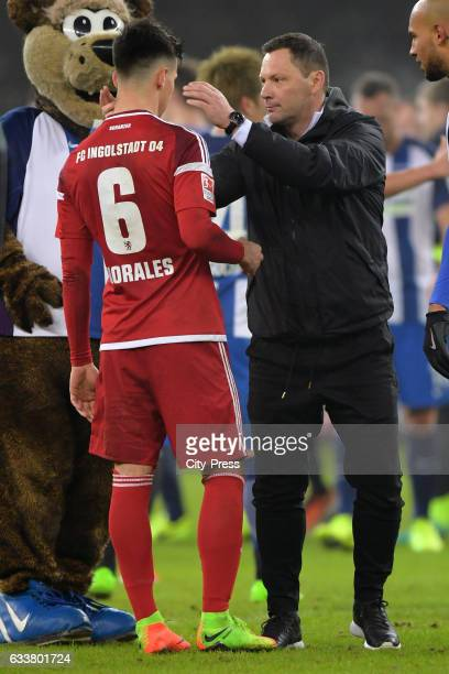 Alfredo Morales of FC Ingolstadt 04 and coach Pal Dardai of Hertha BSC during the game between Hertha BSC and FC Ingolstadt 04 on February 4 2017 in...