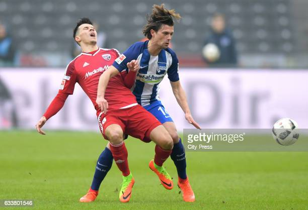 Alfredo Morales of FC Ingolstadt 04 and Valentin Stocker of Hertha BSC during the game between Hertha BSC and FC Ingolstadt 04 on February 4 2017 in...