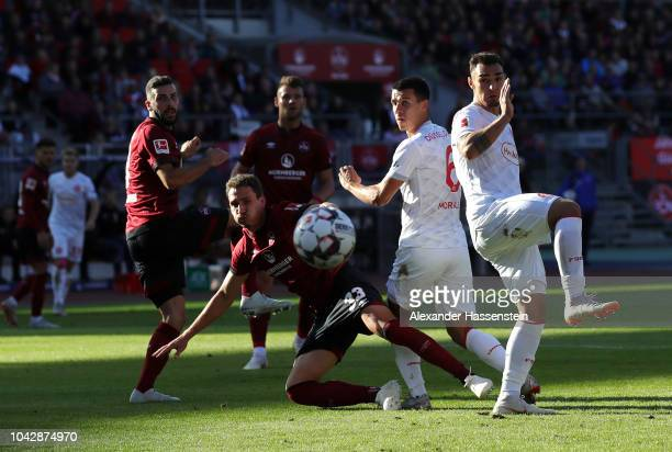 Alfredo Morales of Fortuna Duesseldorf looks on following a headed attempt during the Bundesliga match between 1 FC Nuernberg and Fortuna Duesseldorf...
