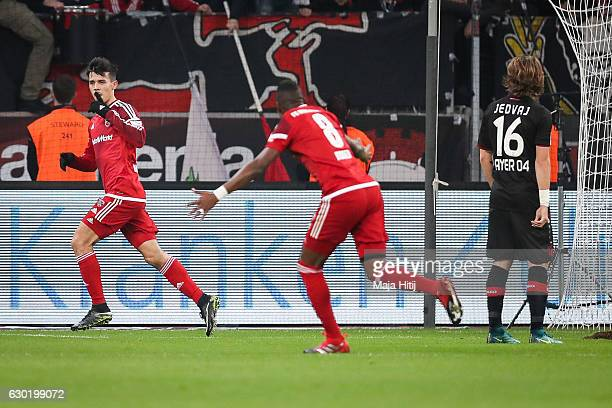 Alfredo Morales of Ingolstadt celebrates after scoring a goal to make it 01 during the Bundesliga match between Bayer 04 Leverkusen and FC Ingolstadt...