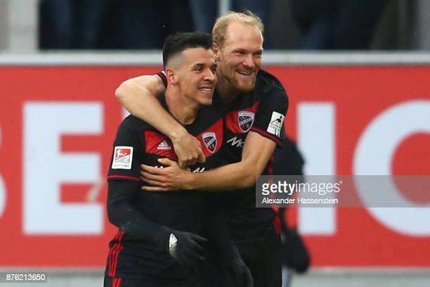 Alfredo Morales of Ingolstadt celebrates scoring the opening goal with his team mate Tobias Levels during the Second Bundesliga match between FC...