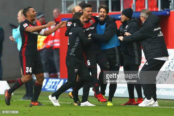 Alfredo Morales of Ingolstadt celebrates scoring the opening goal with his team mates and head coach Stefan Leitl during the Second Bundesliga match...