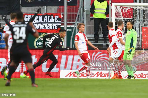 Alfredo Morales of Ingolstadt celebrates scoring the opning goal during the Second Bundesliga match between FC Ingolstadt 04 and Fortuna Duesseldorf...