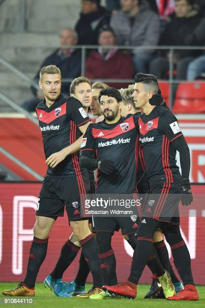 Alfredo Morales of Ingolstadt celebrates with teammates Almog Cohen and Hauke Wahl scoring his teams first goal during the Second Bundesliga match...