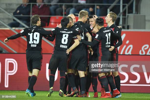 Alfredo Morales of Ingolstadt celebrates with teammates scoring his teams first goal during the Second Bundesliga match between SSV Jahn Regensburg...