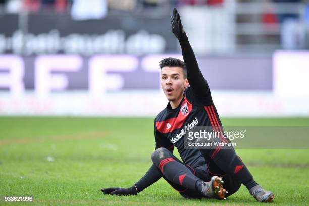 Alfredo Morales of Ingolstadt gestures during the Second Bundesliga match between FC Ingolstadt 04 and SG Dynamo Dresden at Audi Sportpark on March...