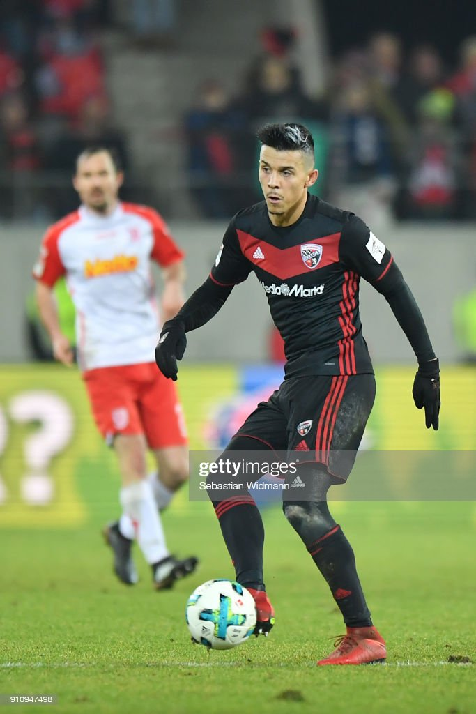 Alfredo Morales of Ingolstadt plays the ball during the Second Bundesliga match between SSV Jahn Regensburg and FC Ingolstadt 04 at Continental Arena on January 26, 2018 in Regensburg, Germany.
