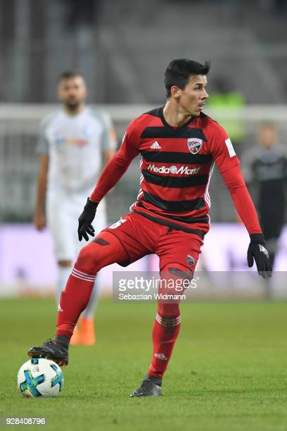 Alfredo Morales of Ingolstadt plays the ball during the Second Bundesliga match between FC Ingolstadt 04 and VfL Bochum 1848 at Audi Sportpark on...