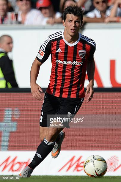 Alfredo Morales of Ingolstadt runs with the ball during the Bundesliga match between FC Ingolstadt and VfL Wolfsburg at Audi Sportpark on September...