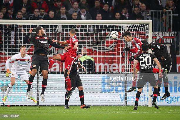 Alfredo Morales of Ingolstadt scores his team's first goal during the Bundesliga match between Bayer 04 Leverkusen and FC Ingolstadt 04 at BayArena...